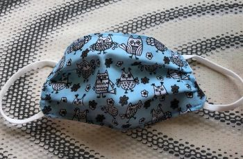 Kid's Handcrafted Reusable Washable Fabric Face Mask Covering Raising Money For Mind Blue Owl & Spot