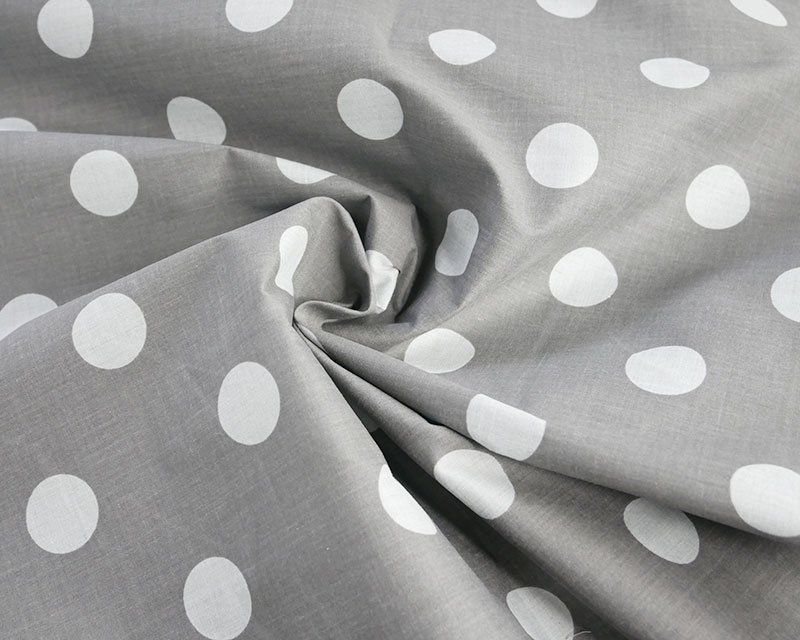 Sally Large Spot Grey & White 44 inch Polycotton Per Metre FREE DELIVERY