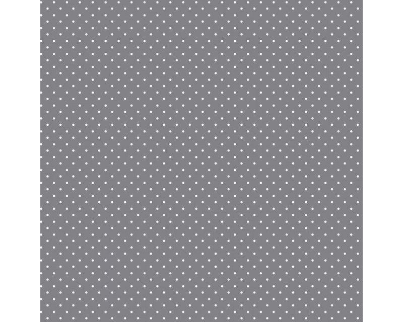 100% Cotton Fabric Grey White Polka Dot / Pinspot 57