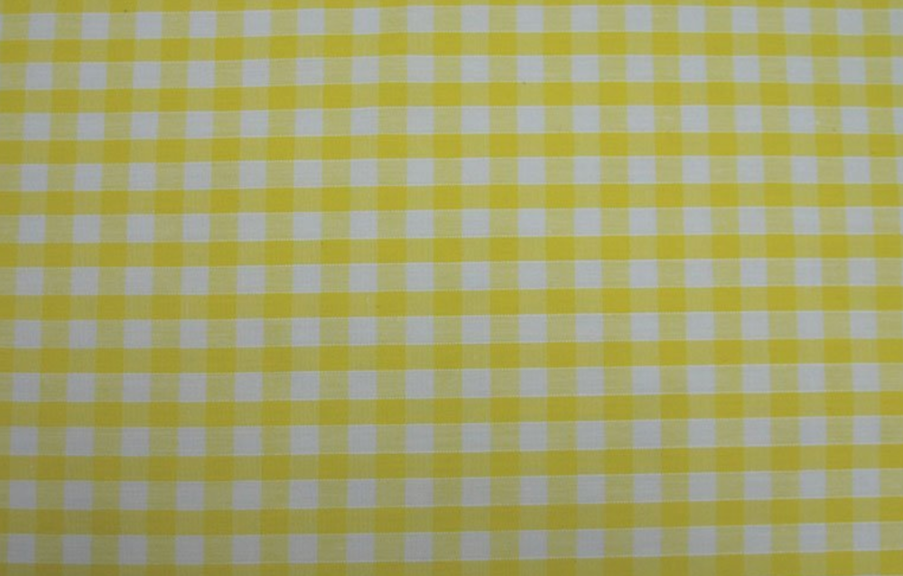 Polycotton Fabric Yellow White Gingham Check 58 inch By The Metre FREE DELI