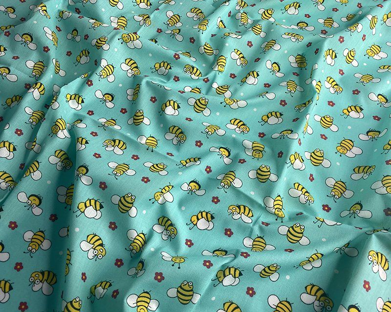 Bees Blue Polycotton 80/20 Fabric 45 inch By The Metre FREE DELIVERY