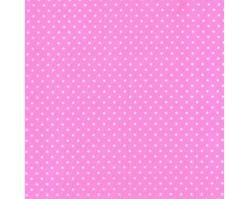 Sally Pinspot Polka Dot Bright Pink White 44 inch Polycotton Per Metre FREE