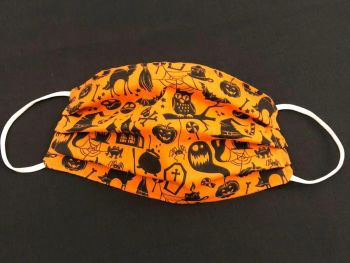 Adult's or Kid's Handcrafted Reusable Washable Fabric Face Mask Covering Raising Money For Mind Halloween Orange Cat Witch Pumpkin Owl