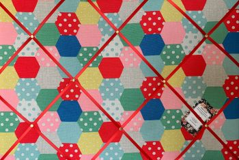 Custom Handmade Bespoke Fabric Pin Memo Notice Photo Cork Memo Board With Cath Kidston Patchwork Spot Your Choice of Size & Ribbons
