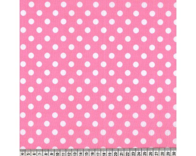 Sally Polycotton Pea Spot Pink White 44