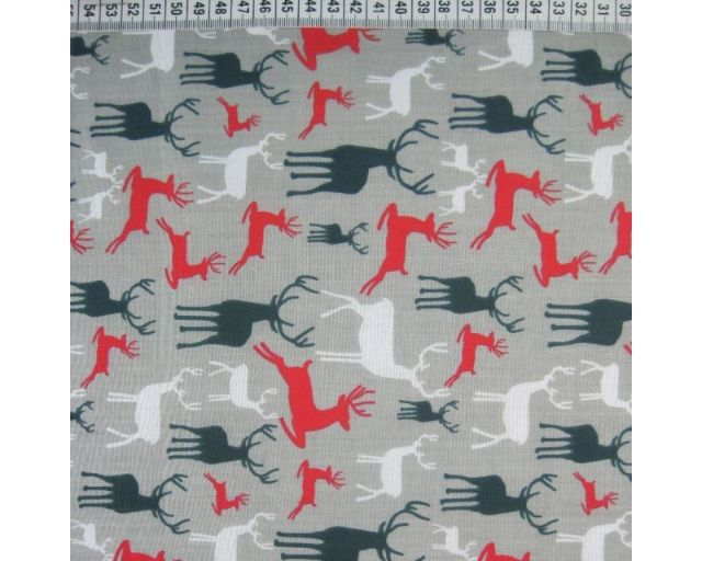 MP Christmas Reindeer Polycotton Silver 44