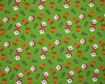 """Sally Polycotton 65/35 Reindeer Christmas Tree Santa Lime Green 45"""" By The Metre FREE DELIVERY"""