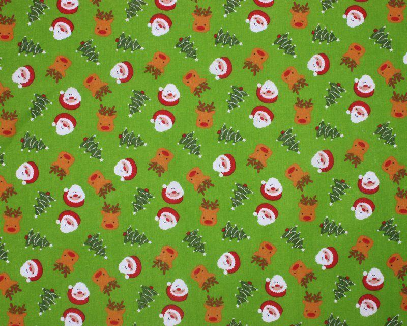 Sally Polycotton 65/35 Reindeer Christmas Tree Santa Lime Green 45