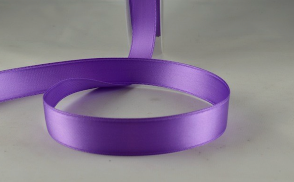 Double Sided Satin Ribbon 7mm 25 Metre Reel Or By The Metre in Purple 43
