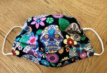Adult's or Kid's Handcrafted Reusable Washable Fabric Face Mask Covering Raising Money For Mind Halloween Day of the Dead Skulls