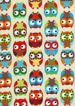 Custom Handmade Bespoke Fabric Pin / Memo / Notice / Photo Cork Memo Board Multicolour Barn Owls Choice of Ribbon