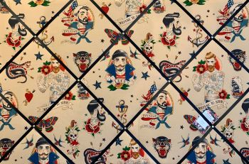 Custom Handmade Bespoke Fabric Pin Memo Notice Photo Cork Memo Board With Alexander Henry Anchors Away Tattoo Nautical Sailor Choice of Size & Ribbon