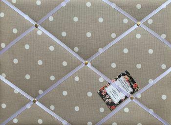 Custom Handmade Bespoke Fabric Pin Memo Notice Photo Cork Memo Board With Clarke & Clarke Taupe Dotty Spot With Your Choice of Sizes & Rib