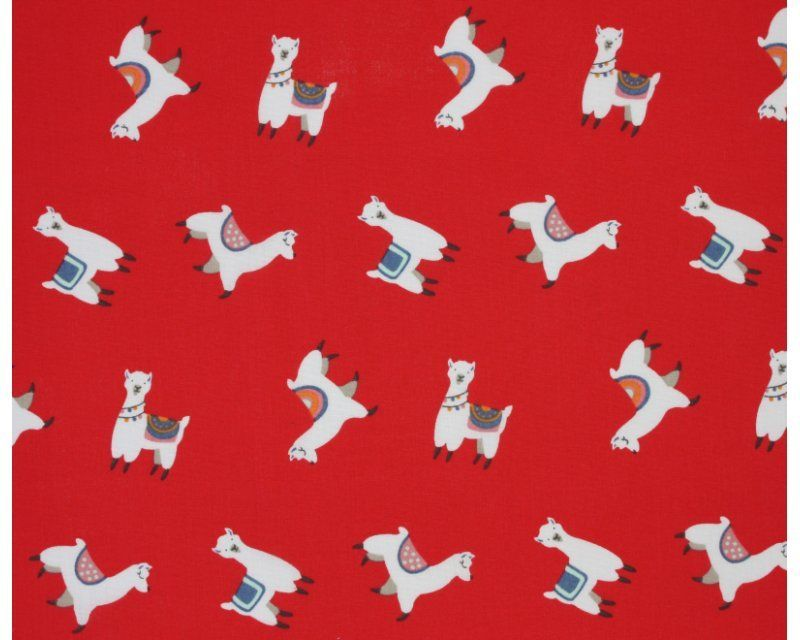 Sally Polycotton 65/35 Llamas Red 45