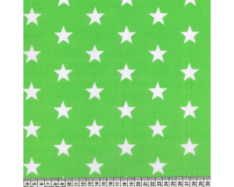 Sally Stars Lime Green & White 44 inch Polycotton Per Metre FREE DELIVERY