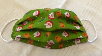 Adults or Kids Crafted Reusable Washable Fabric Face Mask Covering Raising Money For Crisis this Christmas Green Santa Reindeer Trees
