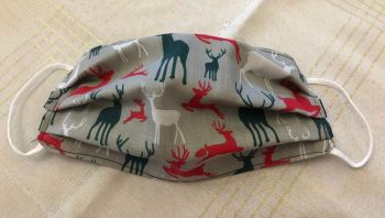 Adults or Kids Crafted Reusable Washable Fabric Face Mask Covering Raising Money For Crisis this Christmas Grey Red Green White Reindeer