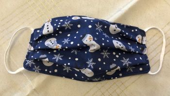 Adults or Kids Crafted Reusable Washable Fabric Face Mask Covering Raising Money For Crisis this Christmas Blue White Snowman