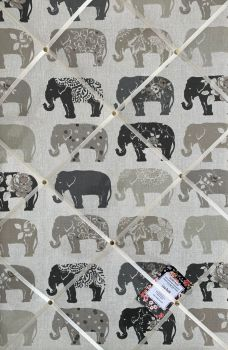 Custom Handmade Bespoke Fabric Pin / Memo / Notice / Photo Cork Memo Board With Clarke & Clarke Elephant / Elephants Natural With Your Choice of Sizes