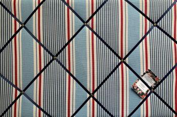 Custom Handmade Bespoke Fabric Pin Memo Notice Photo Cork Memo Board Clarke & Clarke Marine Sail Stripe Nautical With Your Choice of Sizes & Ribbons