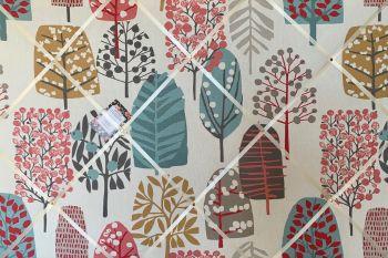Custom Handmade Bespoke Fabric Pin Memo Notice Photo Cork Memo Board With Clarke & Clarke Trad Pastel Trees Your Choice of Sizes & Ribbons