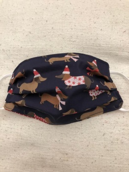 Adults or Kids Crafted Reusable Washable Fabric Face Mask Covering Raising Money For Crisis this Christmas Hat Dachshund Dogs & Red Polka Dots