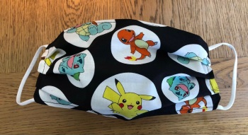 Adult's and Kid's Handcrafted Reusable Washable Fabric Face Mask Covering Raising Money For Mind Pokemon Characters and Black
