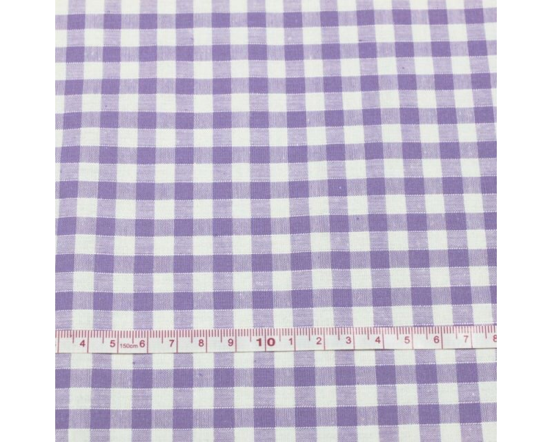 Polycotton Fabric Lilac 1/4 Gingham Check 44 inch By The Metre FREE DELIVER