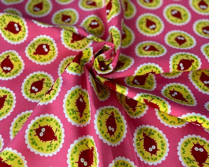 Owl Circles Cotton Fabric 56 inch By The Metre FREE DELIVERY