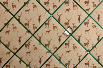 Custom Handmade Bespoke Fabric Pin / Memo / Notice / Photo Cork Memo Board Linen Look Deer and Stags With Your Choice of Sizes & Ribbons
