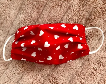 Adult's and Kid's Handcrafted Reusable Washable Fabric Face Mask Covering Raising Money For Mind  Valentines Red & White Hearts