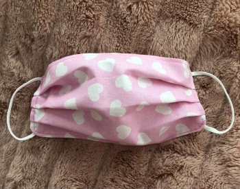Adult's and Kid's Handcrafted Reusable Washable Fabric Face Mask Covering Raising Money For Mind  Valentines Baby Pink & White Hearts