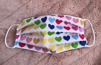 Adult's and Kid's Handcrafted Reusable Washable Fabric Face Mask Covering Raising Money For Mind  Valentines Rainbow Hearts