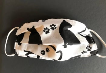 Adult's and Kid's Handcrafted Reusable Washable Fabric Face Mask Covering Raising Money For Mind Black & White Cats