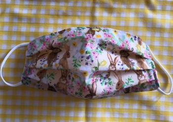 Adult's & Kid's Handcrafted Reusable Washable Fabric Face Mask Covering Raising Money For Mind Floral Easter Bunny