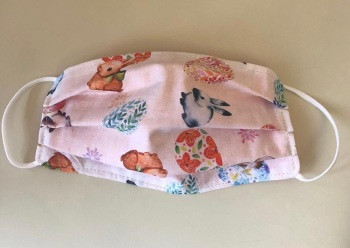 Adult's & Kid's Handcrafted Reusable Washable Fabric Face Mask Covering Raising Money For Mind Pink Easter Bunnies