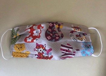 Adult's and Kid's Handcrafted Reusable Washable Fabric Face Mask Covering Raising Money For Mind Pattern Cats