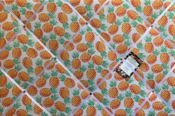 Custom Handmade Bespoke Fabric Pin / Memo / Notice / Photo Cork Memo Board With Pineapple Fruit Print With Your Choice of Sizes & Ribbons