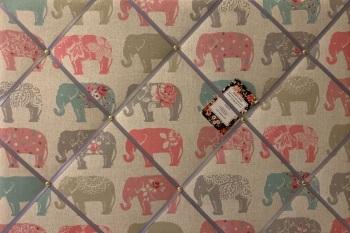 Custom Handmade Bespoke Fabric Pin / Memo / Notice / Photo Cork Memo Board With Clarke & Clarke Elephants Pastel With Your Choice of Sizes