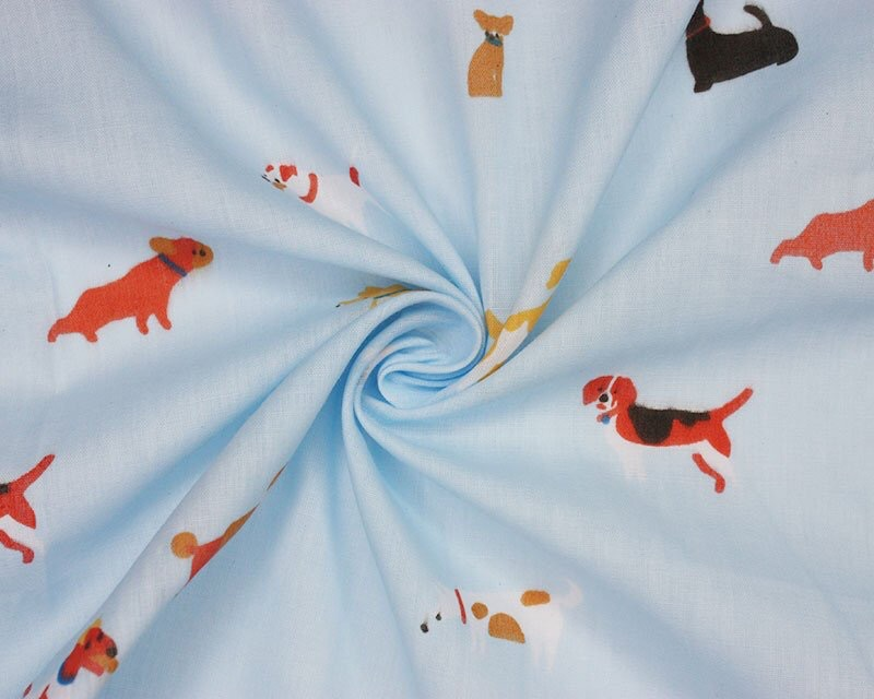 Doggy Day Pollycotton Fabric Material 111cm By The Metre FREE DELIVERY
