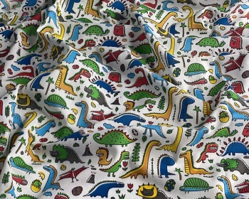 Dino MP Polycotton Fabric Material 114cm By The Metre FREE DELIVERY