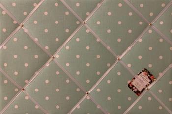 Custom Handmade Bespoke Fabric Pin Memo Notice Photo Cork Memo Board With Clarke & Clarke Seafoam Dotty With Your Choice of Sizes & Rib