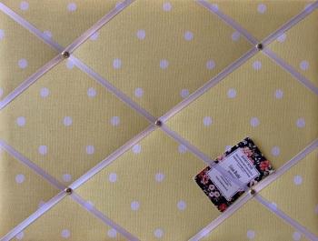 Custom Handmade Bespoke Fabric Pin Memo Notice Photo Cork Memo Board With Clarke & Clarke Yellow Dotty With Your Choice of Sizes & Rib