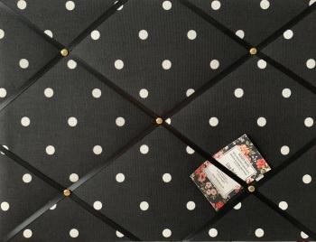 Custom Handmade Bespoke Fabric Pin Memo Notice Photo Cork Memo Board With Clarke & Clarke Black Dotty With Choice of Size & Ribbon