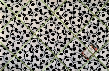Custom Handmade Bespoke Fabric Pin / Memo / Notice / Photo Cork Memo Board With Timeless Treasures Soccer Footballs With Your Choice of Sizes