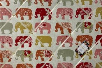 Custom Handmade Bespoke Fabric Pin / Memo / Notice / Photo Cork Memo Board With Clarke & Clarke Elephants Spice With Your Choice of Sizes