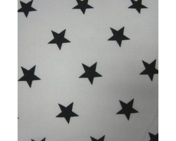 "Black Stars on White 100% Cotton Fabric 56"" Width Price Per Metre FREE DELIVERY"