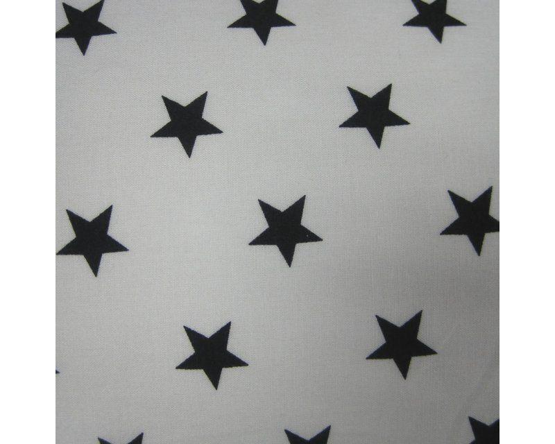 Black Stars on White 100% Cotton Fabric 56