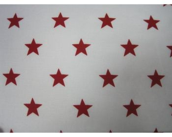 """Red Stars on White 100% Cotton Fabric 56"""" Width Price Per Metre FREE DELIVERY"""