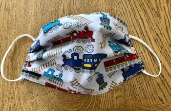Adult's or Kid's Handcrafted Reusable Washable Fabric Face Mask Covering Raising Money For Mind Blue Trains Locomotives